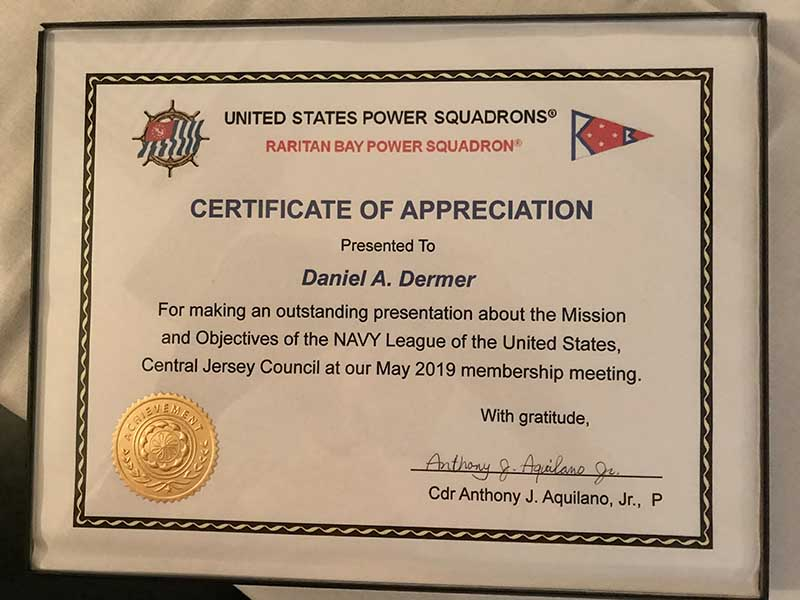 Certificate of Appreciation for Dan Dermer
